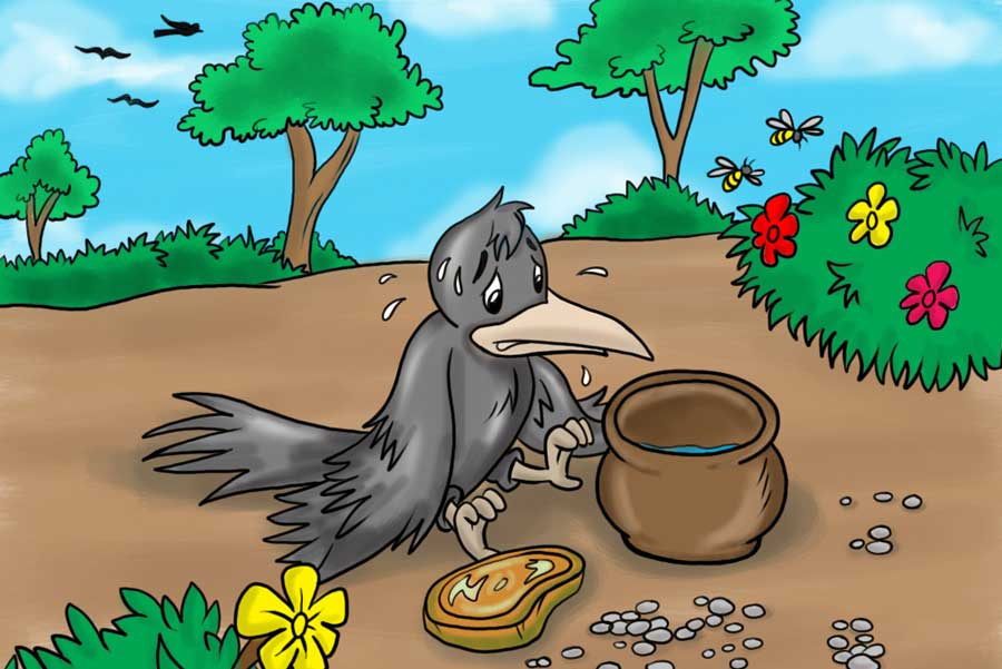 Moral Story for children the thirsty Crow